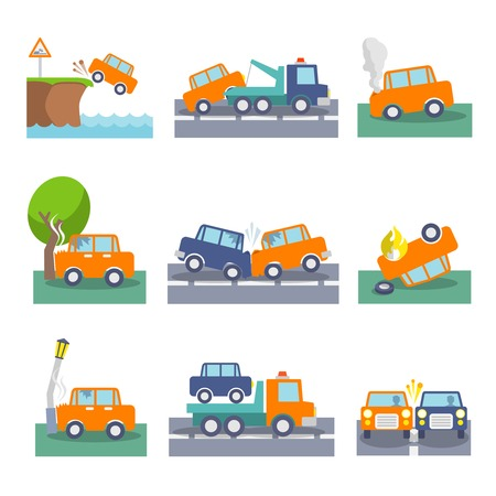 Colored car crash accidents and driving safety icons set isolated vector illustration Vector