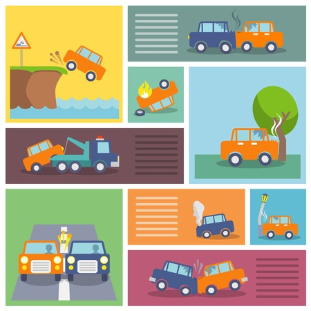 auto insurance: Colored decorative driving safety car security and auto crash protection  icons set isolated vector illustration