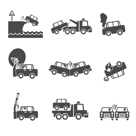 collision: Black and white car accidents icons with tow truck street light  and tree crash isolated vector illustration