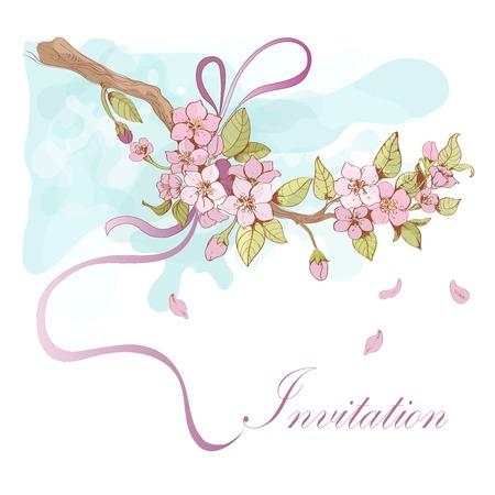 Sakura cherry invitation card template with pink petals and ribbon decorative vector illustration Vector