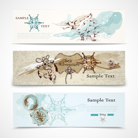 navigating: A set of three horizontal ancient nautical design elements informative advertising banners vector illustration Illustration