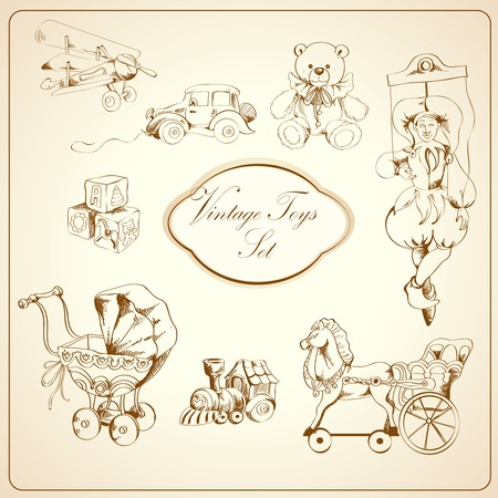 toy block: Decorative retro kids toys sketch icons set of airplane car teddy bear puppet isolated vector illustration Illustration