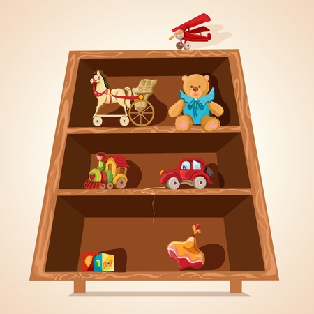 Vintage children toys collection with horse teddy bear airplane car on wooden shelves print vector illustration Vector