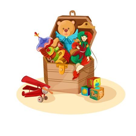 juguetes antiguos: Caja de madera o en el pecho con retro juguetes de bloques de avión marioneta oso de peluche ilustración del cartel de vectores