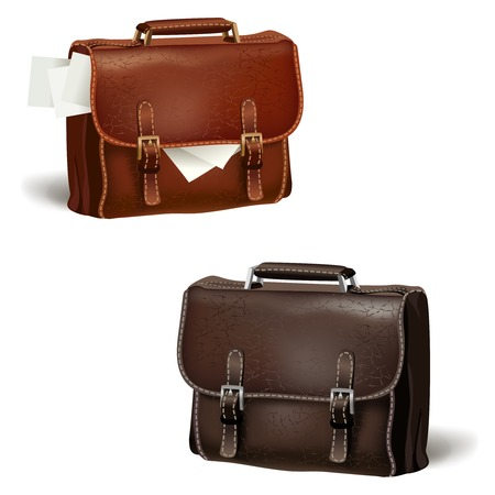 leather briefcase: Classic modern black and brown leather textured business briefcases with documents isolated vector illustration