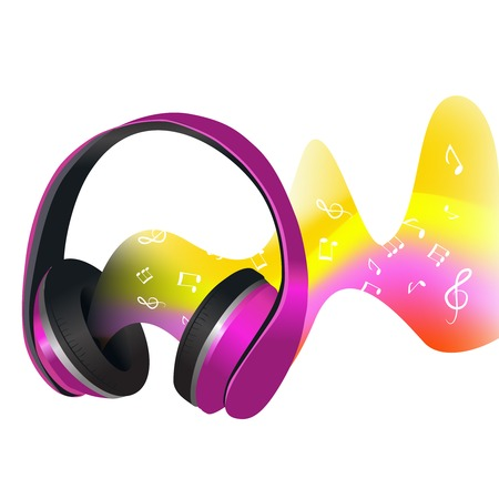 dj headphones: Headphones with colored decorative abstract soundwave with music signs print vector illustration