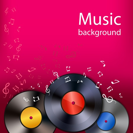 Vintage retro vinyl disks pop rock classic music background poster vector illustration Ilustrace