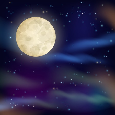 stars: Night sky with full moon and sparkling stars on dark background vector illustration