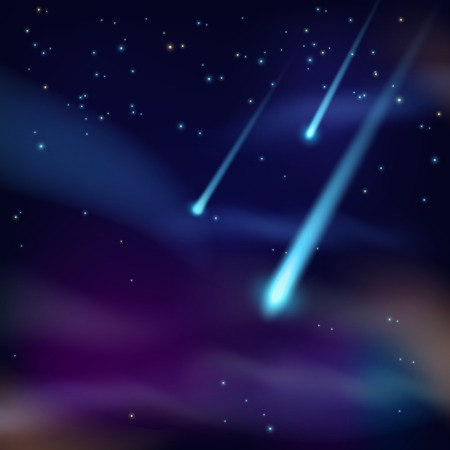 meteor crater: Night sky with twinkling stars and flying comets on dark background vector illustration