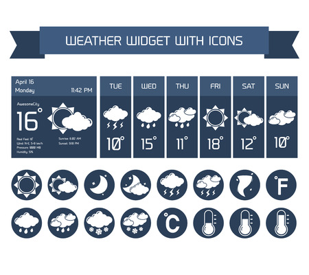 weather forecast: Weather detailed forecast computer and mobile business widgets with vertical dark icons collection on white isolated vector illustration