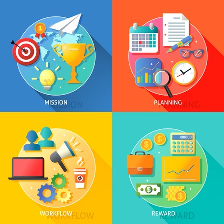 Business success steps of mission planning workflow and reward symbols vector illustration Vector