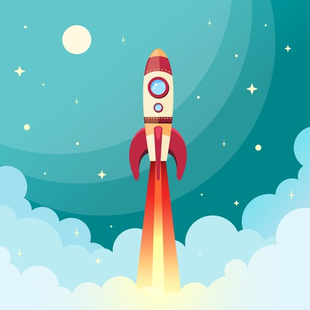 launch: Space rocket flying in space with moon and stars on background print vector illustration Illustration