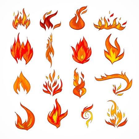 Fire flame burn flare decorative icons set isolated vector illustration Illustration