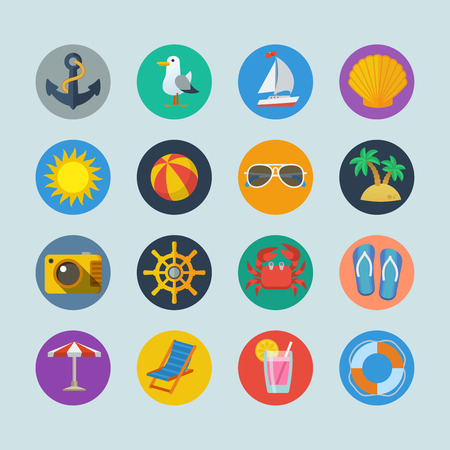 Summer sea holidays icons with anchor seagull yacht seashell sun ball palm isolated vector illustration Vector