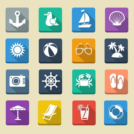 Summer sea vacation icons set with lifesaver cocktail sunshade sun chair photo camera isolated vector illustration Vector