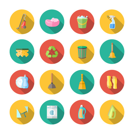 clean dishes: Cleaning dusting and sanitation icons set of can bucket spray plunger isolated vector illustration
