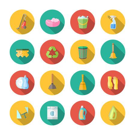 Reinigen van afstoffen en sanitaire pictogrammen set van geïsoleerde blikje emmer spuit zuiger vectorillustratie