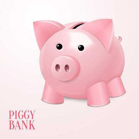 ed: Funny pink ed piggy bank money box saving symbol poster vector illustration