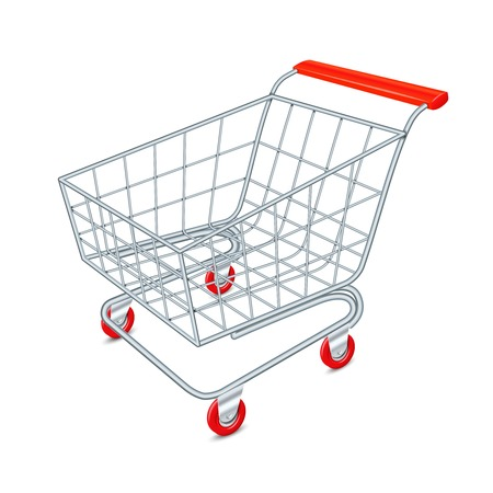 Empty supermarket shopping cart 3d isolated on white background vector illustration