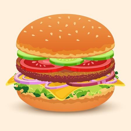 sesame seed: Hamburger sandwich with meat cheese tomato lettuce bun cucumber vector illustration