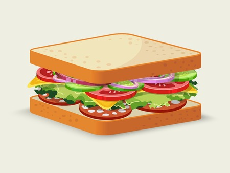 cucumber salad: Salami sandwich food emblem with tomato salad cucumber onion cheese isolated vector illustration