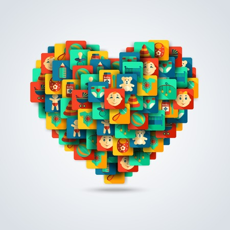 child care: Decorative baby love heart concept with child care icons vector illustration