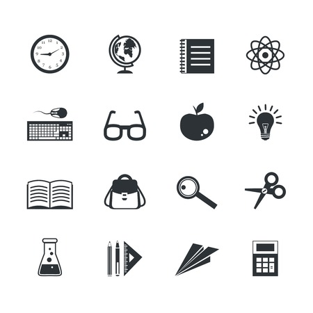 blog design: School physics chemistry alphabet education icons set isolated vector illustration