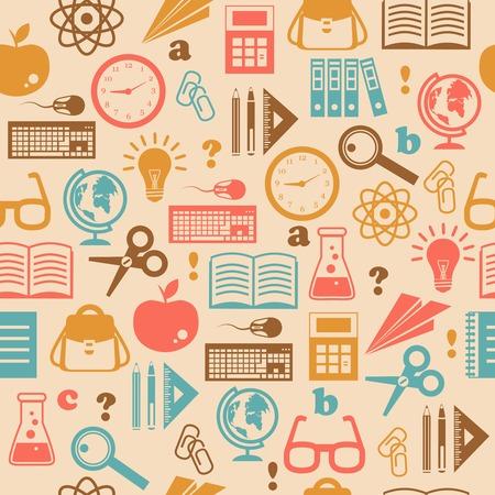 Bildung Wissen nahtlose Tapete mit Schulmaterial Buch Rucksack Vektor-Illustration Standard-Bild - 27595424