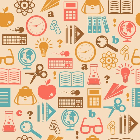 Onderwijs kennis naadloos behang met schoolspullen boek rugzak vectorillustratie