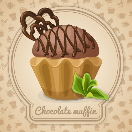 chocolate mint: Chocolate muffin dessert poster in frame  and cooking icons on background vector illustration Illustration