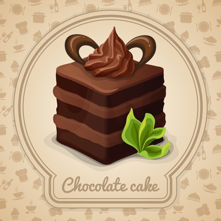 Chocolate layered cake with cream dessert poster in frame and cooking icons on background vector illustration Vector