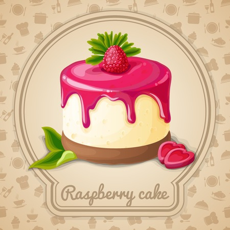Raspberry cake with syrup dessert emblem in frame and food cooking icons on background vector illustration Illustration
