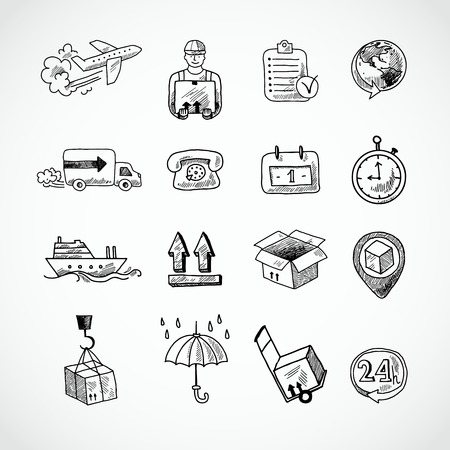обращается: Установить Logistic доставка грузов предоставление услуг рисованной каракули иконки, изолированных векторные иллюстрации