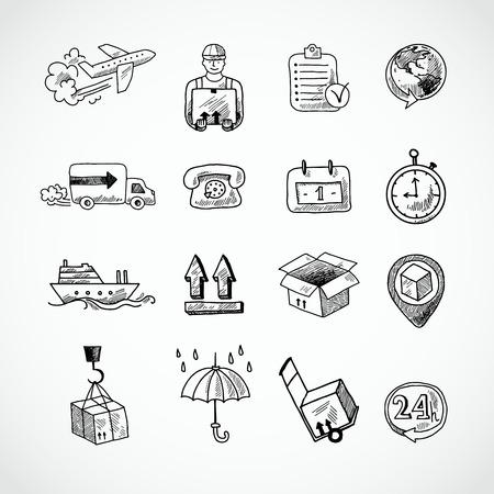 leveringen: Logistieke scheepsvrachtdienst supply hand getrokken doodle pictogrammen instellen geïsoleerde vector illustratie Stock Illustratie
