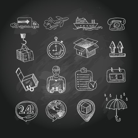 Logistic shipping freight service chalk board icons set isolated vector illustration