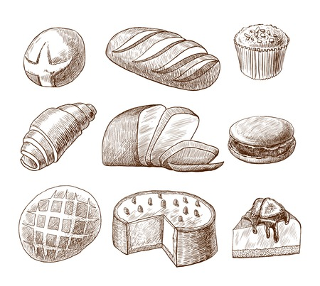 Puff pastry and bread assortment doodle food icons set vector illustration
