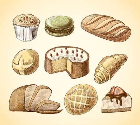 puff pastry: Puff pastry macaron croissant cheese cake and wheat rye bread doodle food icons set vector illustration