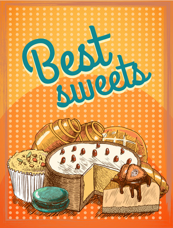 croissant: Sweet puff pastry cake pie bread food poster template vector illustration