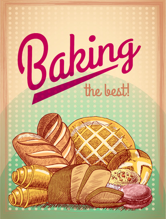 Baking the best pastry food poster template with bread and cake assortment vector illustration