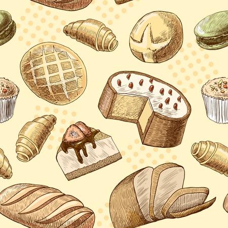 macaron: Bl�tterteig Macaron Croissant K�sekuchen und Weizenbrot nahtlose Lebensmittel Muster Vektor-Illustration