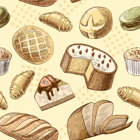 Puff pastry macaron croissant cheese cake and wheat rye bread seamless food pattern vector illustration