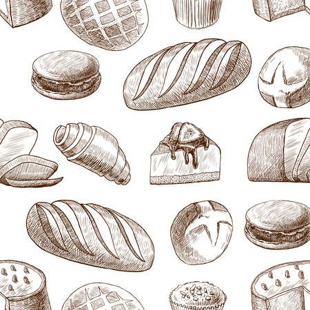 Puff sweet pastry baked cake and wheat rye traditional bread seamless food pattern vector illustration