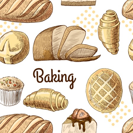 Puff pastry bread croissant cupcake baking seamless food pattern vector illustration