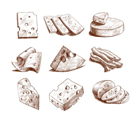 Whole cheese blocks and slices assortment doodle food icons set vector illustration Illustration