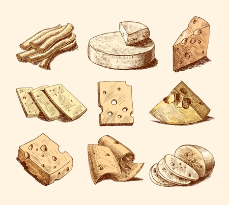 cheese: Cheddar parmesan and smoked cheese slices chunks and blocks assortment doodle food icons set vector illustration