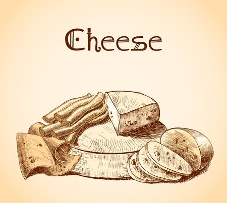 parmigiano: Cheddar parmigiano affumicato olanda fette di formaggio blocchi e blocchi assortimento schizzo illustrazione vettoriale manifesto Vettoriali