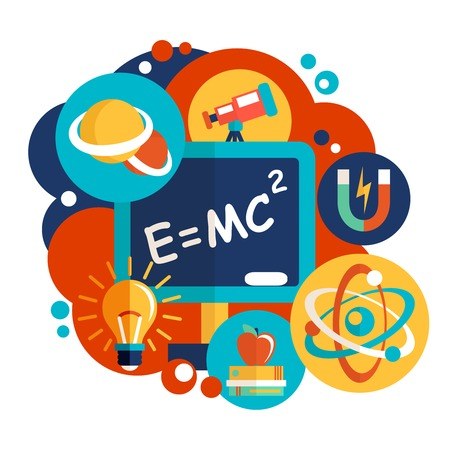 Physics science laboratory equipment flat design emblem vector illustration