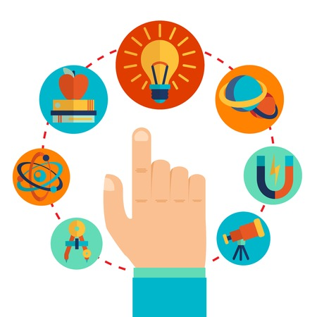 laboratory label: Physics signs icons with touching pointing hand concept vector illustration