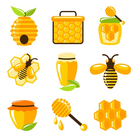 dipper: Decorative honey bee hive and cell food agriculture icons set isolated vector illustration.
