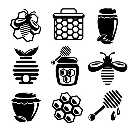 Honey bee hive and cell food agriculture black silhouette icons set isolated vector illustration Illustration